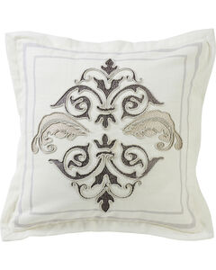 HiEnd Accents Cream Square Outlined Embroidered Design Pillow with Flange, , hi-res