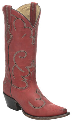 Corral Red Cowhide Cowgirl Boots - Snip Toe, , hi-res