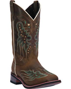 Laredo Women's Sadie Cowgirl Boots - Square Toe, Dark Brown, hi-res