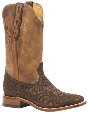 Boulet Croc Print Stockman Cowboy Boots - Square Toe, Brown, hi-res