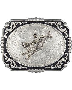 Montana Silversmiths Painted Cowboy Cameo with Bull Rider Buckle, , hi-res