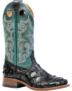 Boulet Men's Black Pirarucu Fish Western Boots - Square Toe, , hi-res