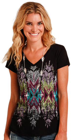 Panhandle Slim Women's Black Cap Sleeve Aztec Graphic Tee , Black, hi-res