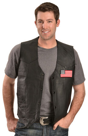 China Leather Men's American Flag Leather Vest, Black, hi-res