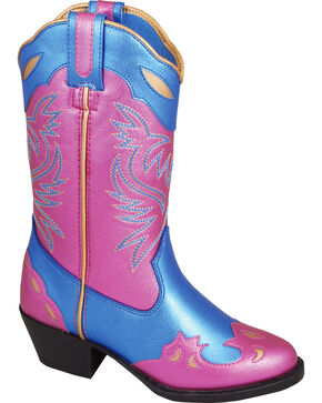 Smoky Mountain Girls' Lila Western Boots - Medium Toe , Blue, hi-res