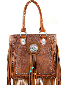 Montana West Trinity Ranch Collection Tooled Fringe Tote, Brown, hi-res