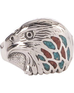 Silver Legends Men's Sterling Silver & Turquoise Eagle Head Ring, Turquoise, hi-res