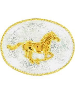 Nocona Running Horse Buckle, Silver, hi-res