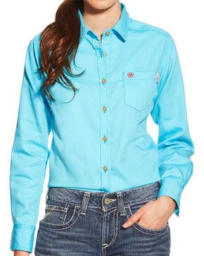 Ariat Women's Turquoise FR Block Work Shirt , Turquoise, hi-res