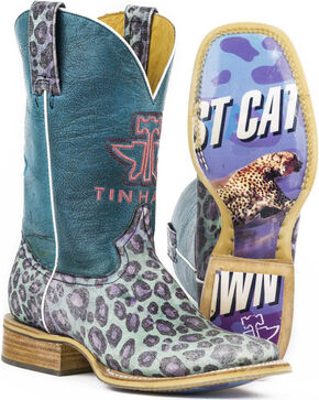 Tin Haul Women's Cheetah Print Fast Cat Cowgirl Boots - Square Toe, Purple, hi-res