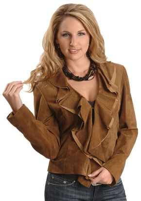 Scully Ruffled Suede Leather Jacket, Brown, hi-res
