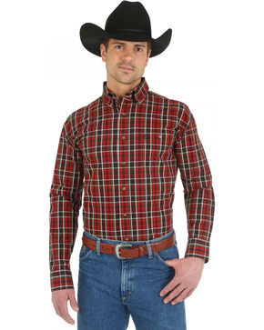 Wrangler George Strait Chestnut Plaid with Paisley Trim Western Shirt, Chestnut, hi-res