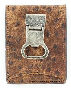 Nocona Ostrich Print Money Clip Bi-Fold Wallet, , hi-res