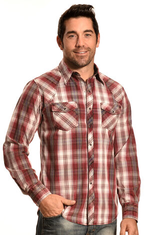 Ely 1878 Men's Rust Plaid Holster Yoke Western Shirt , Rust, hi-res