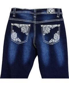 Cowgirl Hardware Girls' Lace Pocket Jeans (7-16), Indigo, hi-res