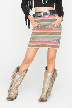 Ryan Michael Women's Stripe Jacquard Skirt, , hi-res
