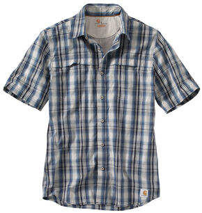 Carhartt Men's Force Plaid Short Sleeve Shirt, Blue, hi-res
