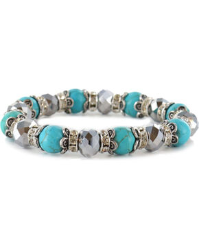 Shyanne Women's Beaded Silver & Turquoise Bracelet, Silver, hi-res