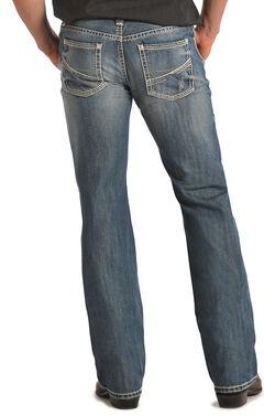 """Rock & Roll Cowboy Pistol """"V"""" Pocket Light Wash Jeans, , hi-res"""