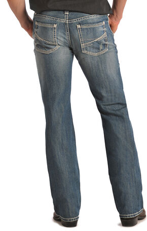 "Rock & Roll Cowboy Pistol ""V"" Pocket Light Wash Jeans, Light Stone, hi-res"