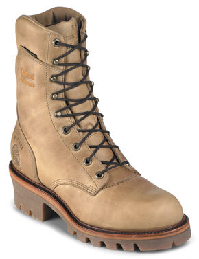 """Chippewa Insulated Waterproof Apache 9"""" Lace-Up Work Boots - Round Toe, Golden Tan, hi-res"""