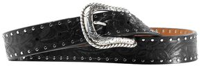 Ariat Western Embossed Black Belt, Black, hi-res