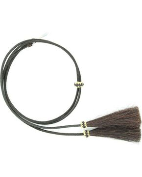 Leather with Horsehair Stampede String, Black, hi-res