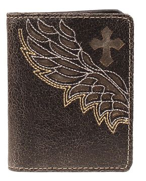 Nocona Embroidered Wing Cutout Bi-Fold Wallet, Black, hi-res