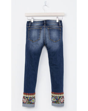 Miss Me Girls' Embroidered Cuff Ankle Skinny Jean, Indigo, hi-res