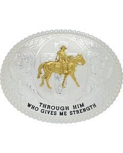 Montana Silversmiths Men's Gives Me Strength Belt Buckle , , hi-res