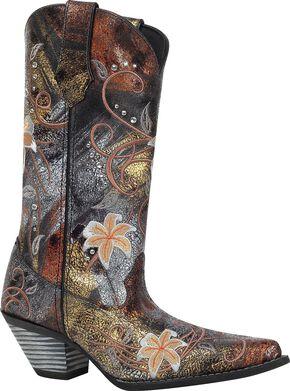 Durango Rhinestone Embroidered Cowgirl Boots - Snip Toe, Black, hi-res