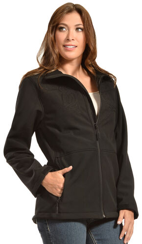 Red Ranch Women's Embroidered Black Bonded Jacket , Black, hi-res