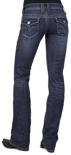 Stetson Women's 818 Dark Rinse Rhinestone Rear Flap Bootcut Jeans - Plus, , hi-res