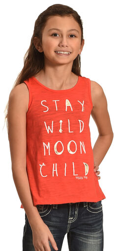 Miss Me Girls' Pink Moon Child Graphic Tank, Pink, hi-res