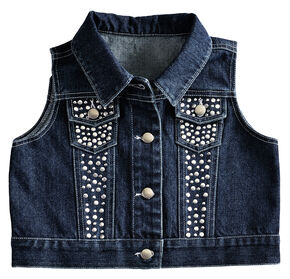 Red Ranch Girls' Denim Vest, Denim, hi-res