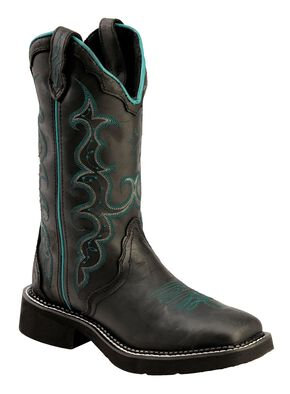 Justin Gypsy Crazy Horse Cowgirl Boots - Square Toe, Black, hi-res