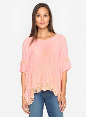 Johnny Was Women's Princess Top , Coral, hi-res
