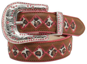 "Blazin Roxx Girls' 1 1/4"" Glitter Leopard Belt, Brown, hi-res"