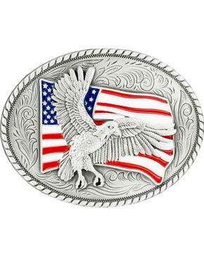 Nocona Bald Eagle & American Flag Oval Buckle, Silver, hi-res