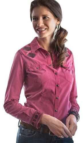 Ryan Michael Women's Samantha Aztec Embroidered Shirt, Berry, hi-res