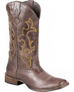 Roper Dark Brown Cowgirl Boots - Square Toe, , hi-res