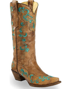 Corral Vintage Brown Scroll Overlay Cowgirl Boots - Snip Toe, , hi-res