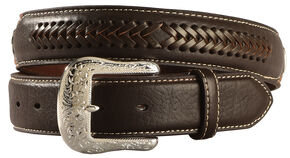 Ariat Constrasting Leather Laced Overlay Belt, Brown, hi-res