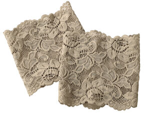 Shyanne Women's Taupe Lace Stretch Boot Cuffs, Taupe, hi-res