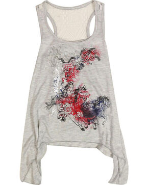 Shyanne Toddler Girls' Running Horses Tank , Grey, hi-res