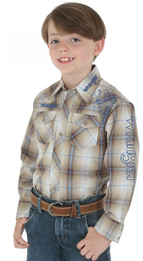 Wrangler Boys' Logo Khaki Plaid Shirt, Khaki, hi-res