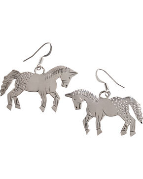 M & S Turquoise Stamped Sterling Silver Horse Earrings, Silver, hi-res