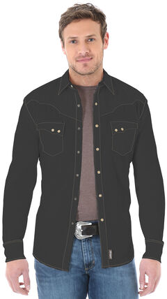 Wrangler Retro Men's Long Sleeve Black Snap Shirt, , hi-res