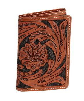 Roper Men's Floral Tooled Tri-Fold Wallet, Natural, hi-res