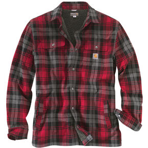 Carhartt Men's Hubbard Sherpa-Lined Shirt Jacket, Red, hi-res